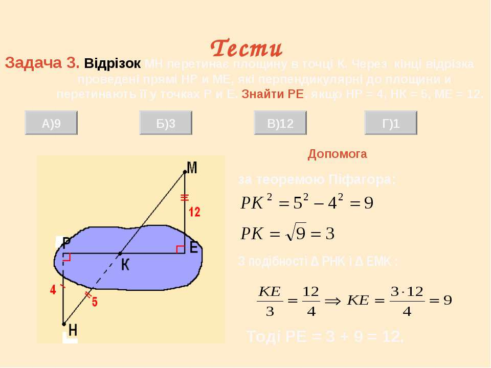 Тести Задача 3. Відрізок МН перетинає площину в точці К. Через кінці відрізка...
