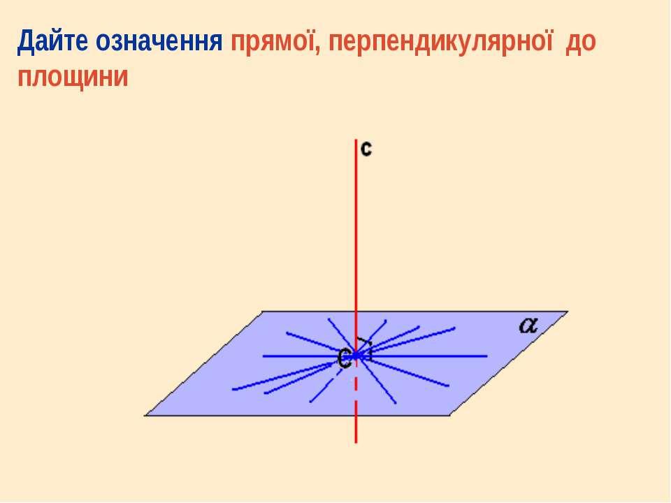 Дайте означення прямої, перпендикулярної до площини