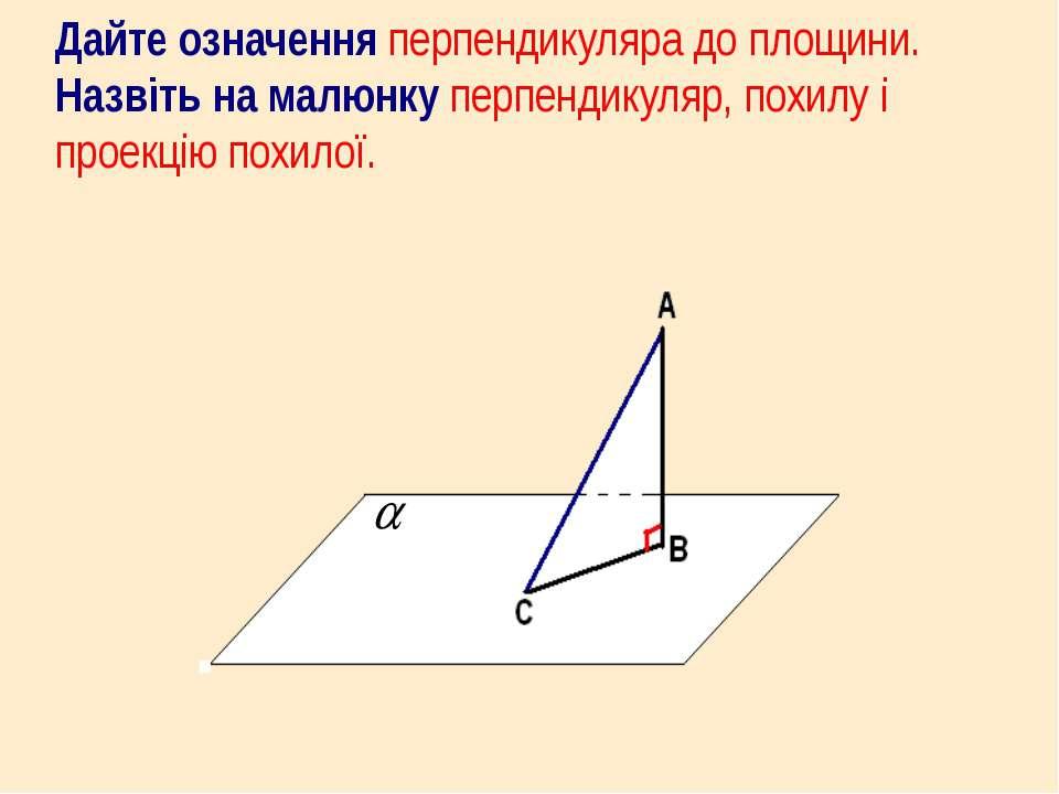 Дайте означення перпендикуляра до площини. Назвіть на малюнку перпендикуляр, ...