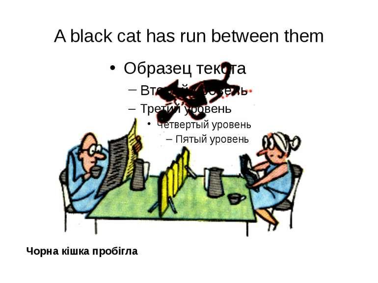 A black cat has run between them Чорна кішка пробігла