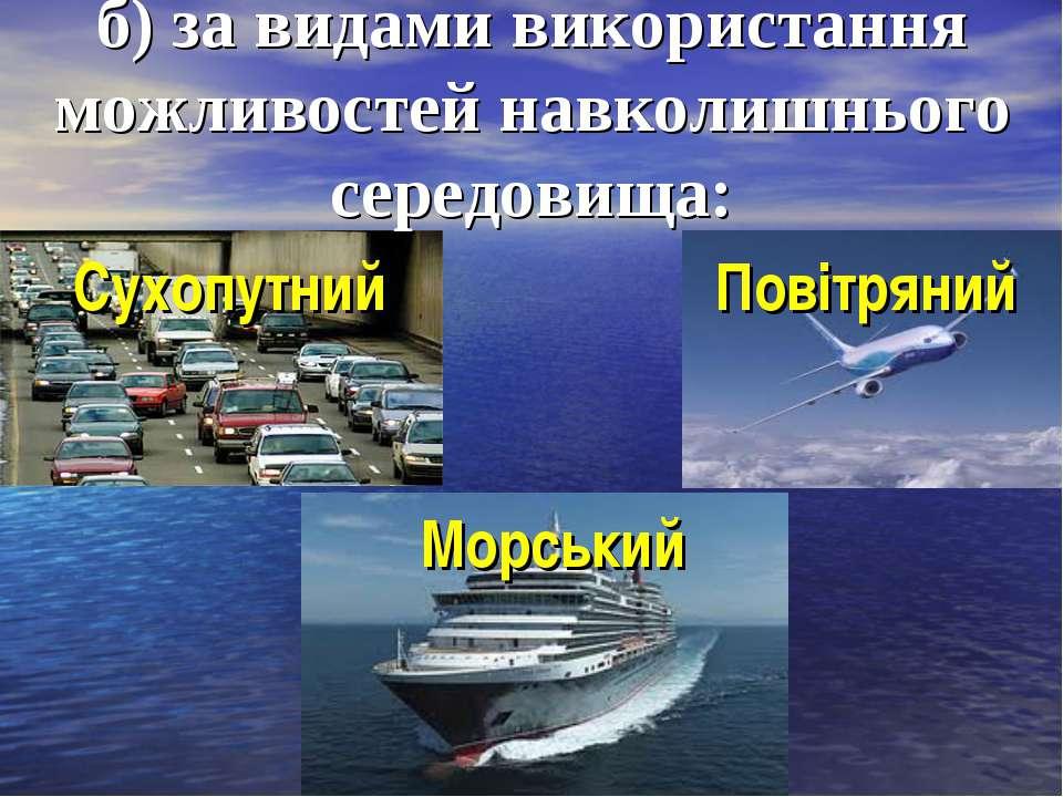 б) за видами використання можливостей навколишнього середовища: Морський Пові...