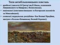 Типи антибільшовицьких повстань армійські (заколоти М.Григор'єва,Н.Махна, пол...
