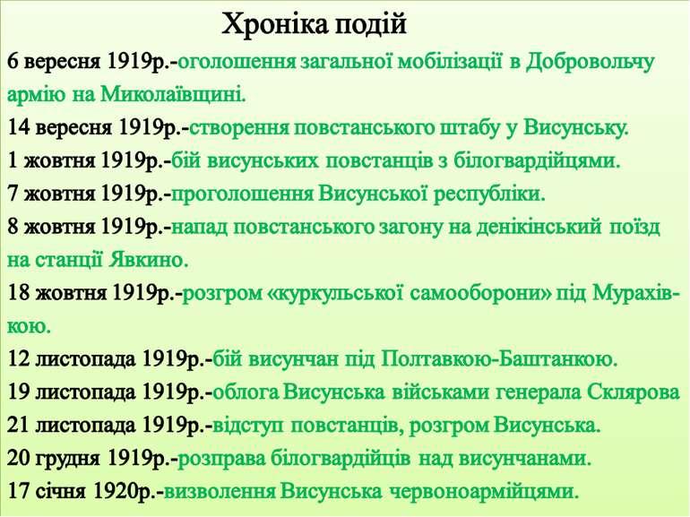 Хроніка подій 6 вересня 1919р.-оголошення загальної мобілізації в Добровольчу...