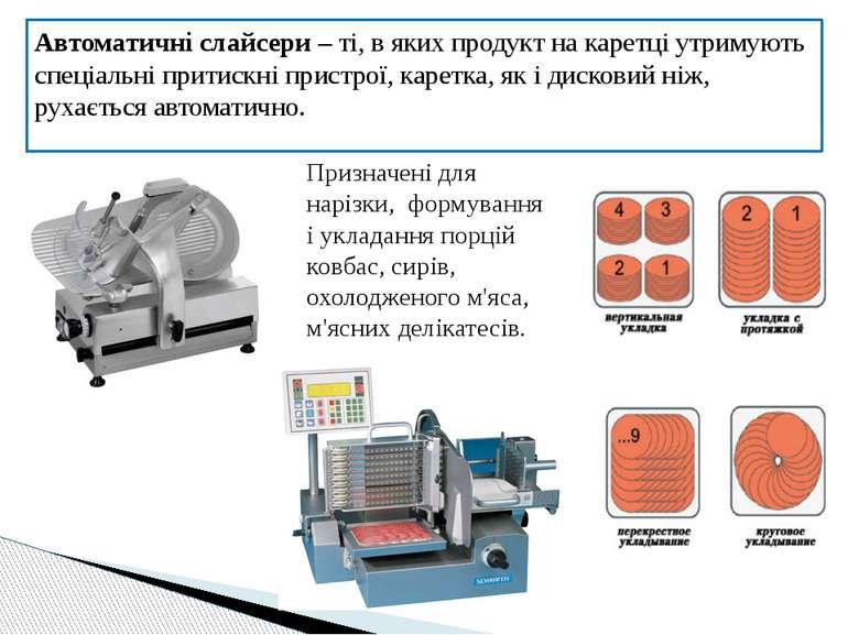 Автоматичні слайсери – ті, в яких продукт на каретці утримують спеціальні при...