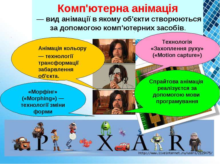 . Комп'ютерна анімація — вид анімації в якому об'єкти створюються за допомого...