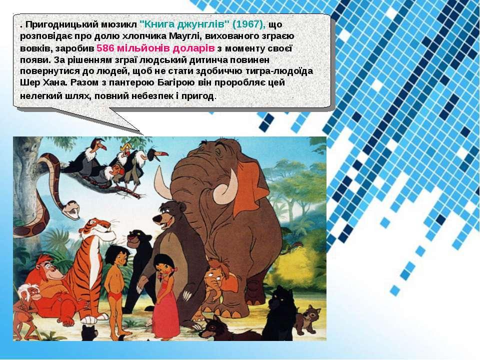 """. Пригодницький мюзикл """"Книга джунглів"""" (1967), що розповідає про долю хлопчи..."""