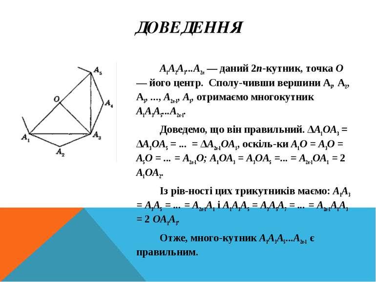 ДОВЕДЕННЯ А1А2А3...А2п — даний 2п-кутник, точка О — його центр. Сполу чивши в...