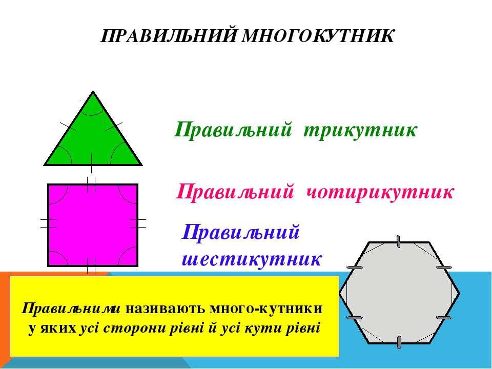 ПРАВИЛЬНИЙ МНОГОКУТНИК Правильний трикутник Правильний чотирикутник Правильни...