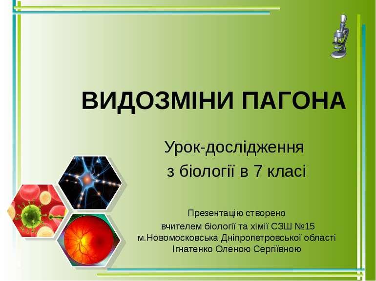 ВИДОЗМІНИ ПАГОНА Урок-дослідження з біології в 7 класі Презентацію створено в...