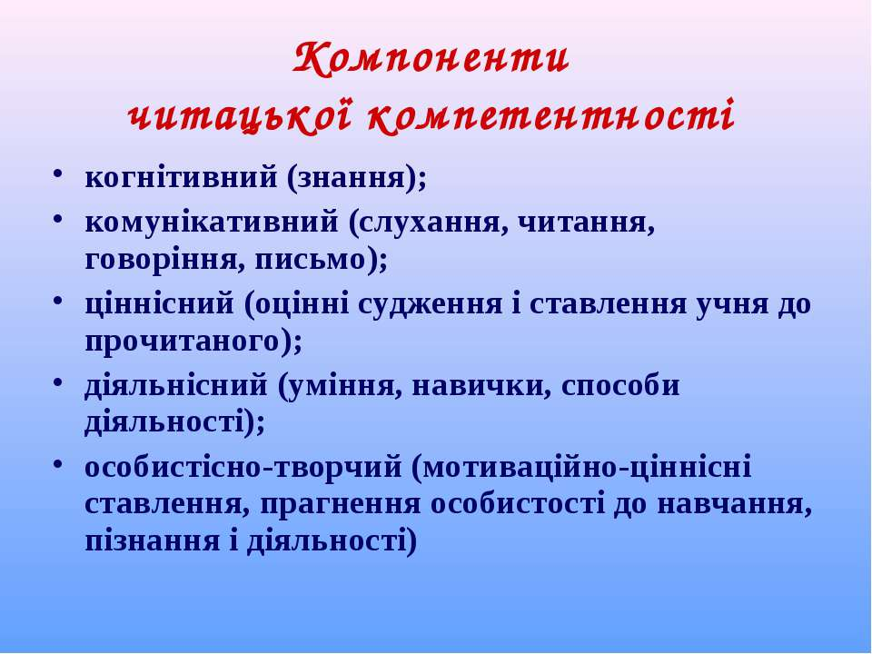 Компоненти читацької компетентності когнітивний (знання); комунікативний (слу...