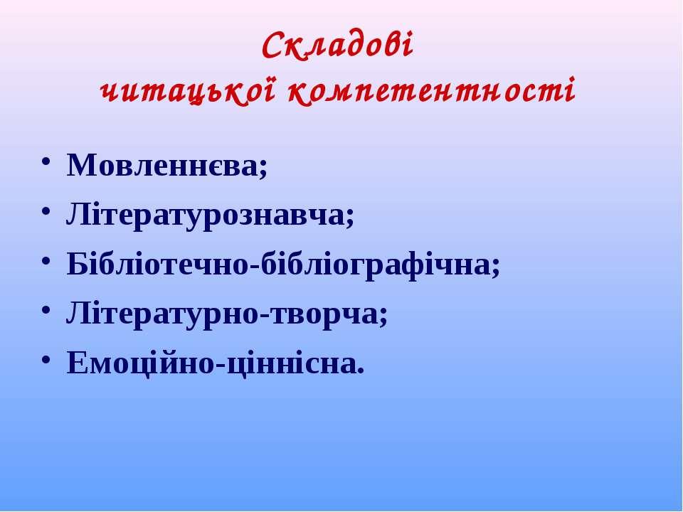 Складові читацької компетентності Мовленнєва; Літературознавча; Бібліотечно-б...