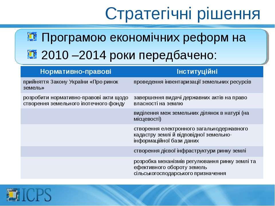 Стратегічні рішення Програмою економічних реформ на 2010 –2014 роки передбаче...