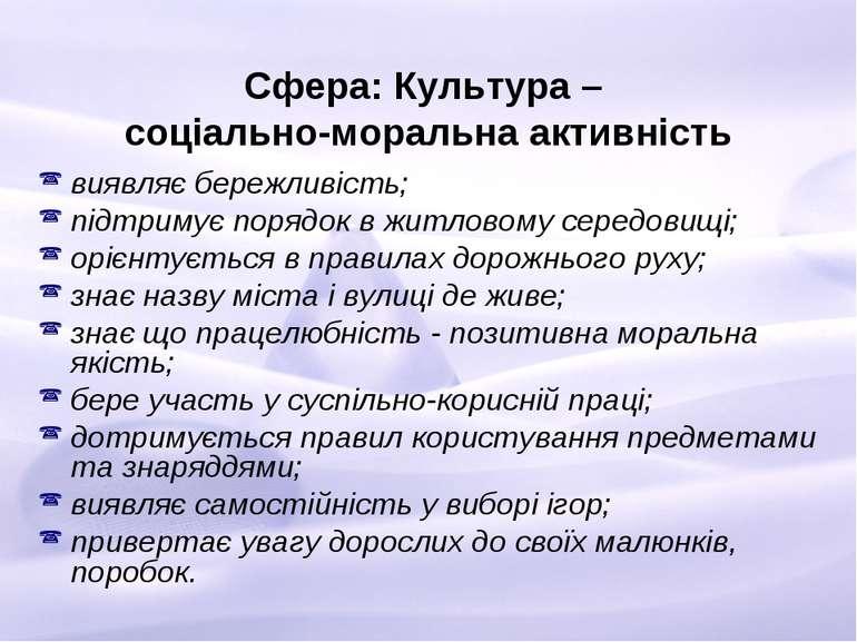 Сфера: Культура – соціально-моральна активність виявляє бережливість; підтрим...