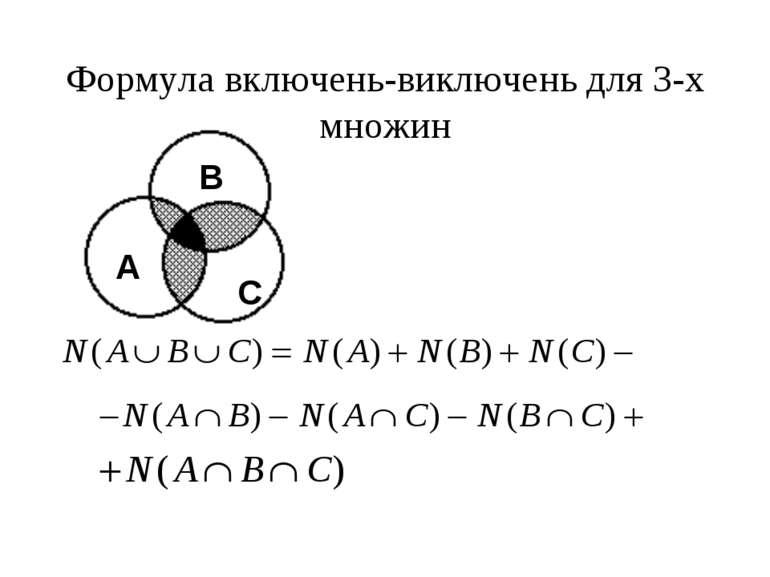 Формула включень-виключень для 3-x множин A B C