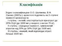 Класифікація Згідно з класифікацією О.О. Шалімова, В.Ф. Саєнко (1987р.), к...