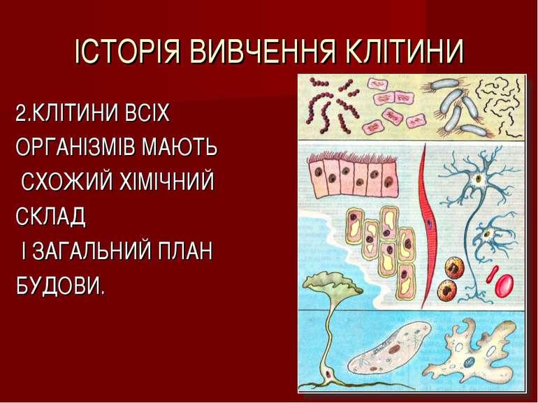 ІСТОРІЯ ВИВЧЕННЯ КЛІТИНИ 2.КЛІТИНИ ВСІХ ОРГАНІЗМІВ МАЮТЬ СХОЖИЙ ХІМІЧНИЙ СКЛА...