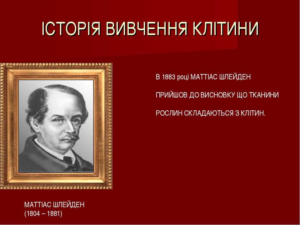 ІСТОРІЯ ВИВЧЕННЯ КЛІТИНИ МАТТІАС ШЛЕЙДЕН (1804 – 1881) В 1883 році МАТТІАС ШЛ...
