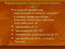 Фармакодинаміка антикоагулянтів непрямої дії за рахунок пригнічення перетворе...