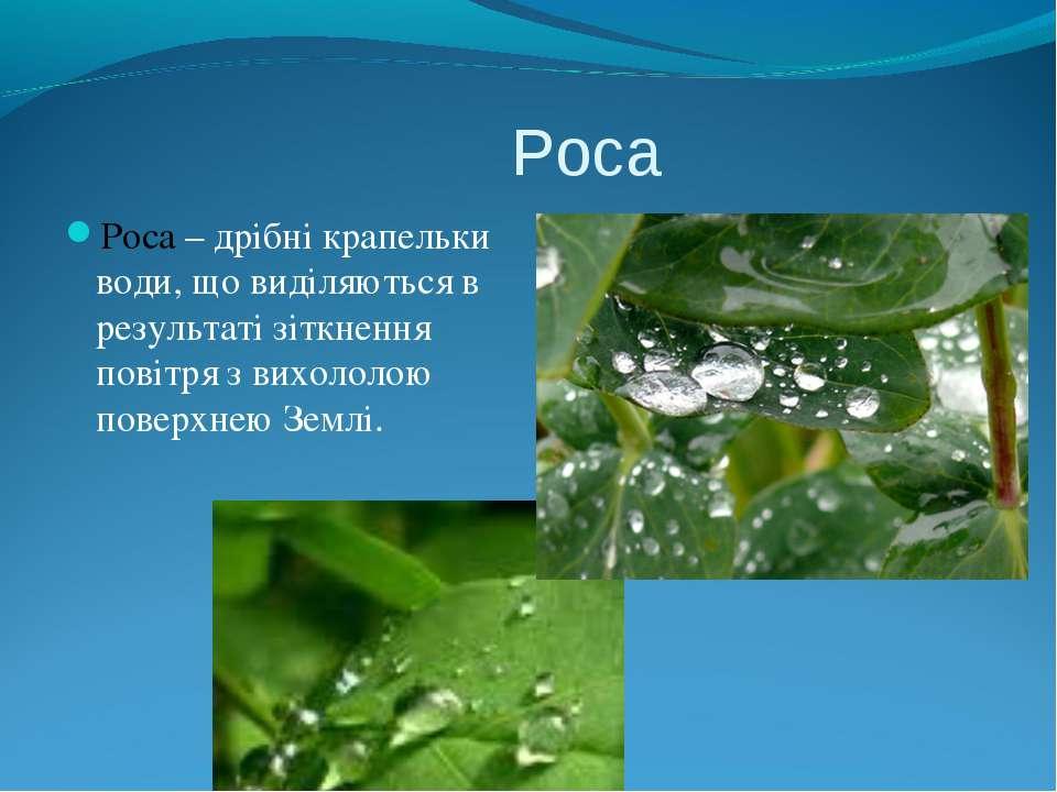 Роса Роса – дрібні крапельки води, що виділяються в результаті зіткнення пові...