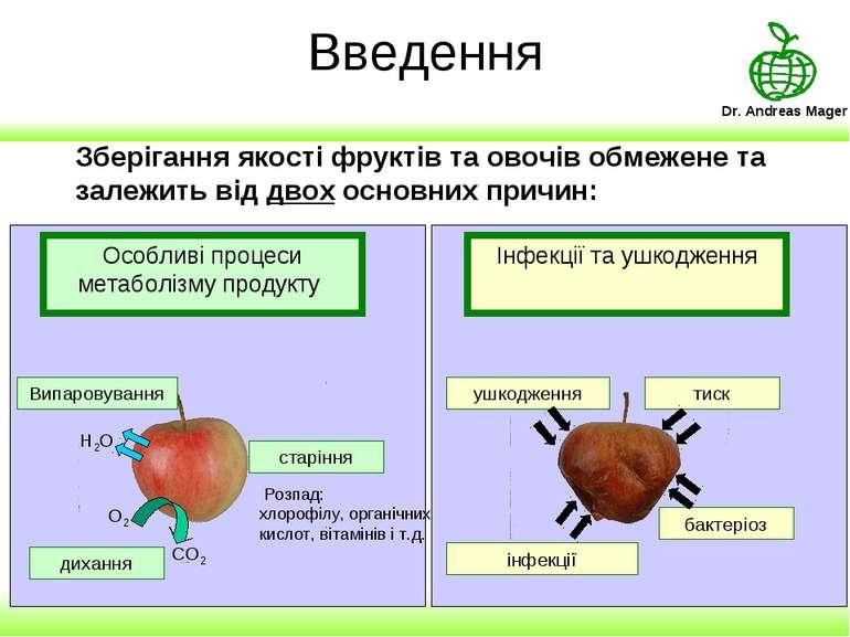 Введення Зберігання якості фруктів та овочів обмежене та залежить від двох ос...