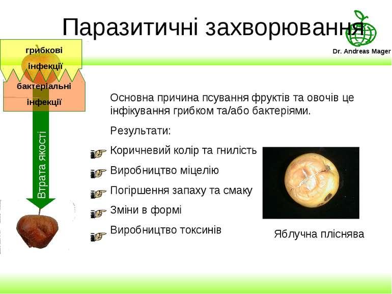 Паразитичні захворювання Основна причина псування фруктів та овочів це інфіку...