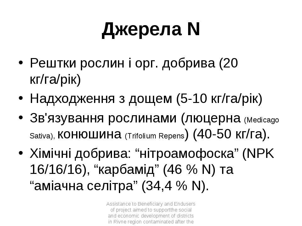 Джерела N Рештки рослин і орг. добрива (20 кг/га/рік) Надходження з дощем (5-...