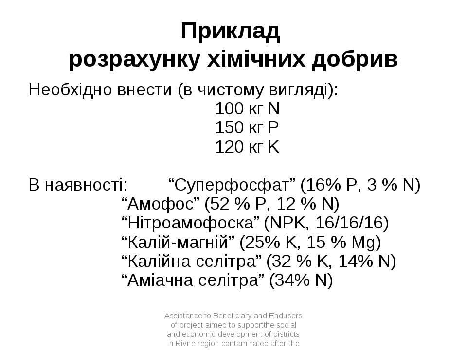 Приклад розрахунку хімічних добрив Необхідно внести (в чистому вигляді): 100 ...