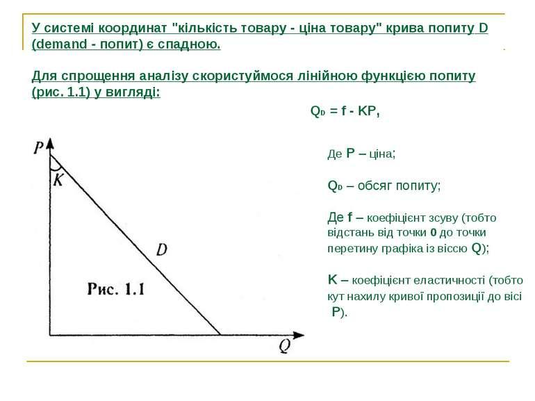 """У системі координат """"кількість товару - ціна товару"""" крива попиту D (demand -..."""