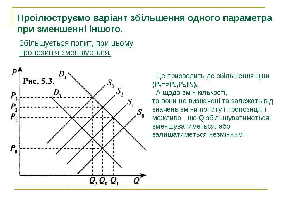 Проілюструємо варіант збільшення одного параметра при зменшенні іншого. Збіль...