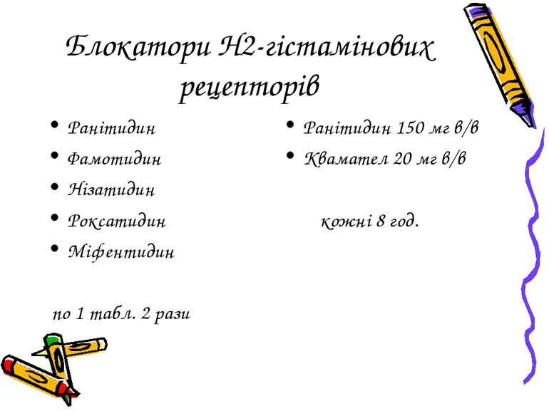 Блокатори Н2-гістамінових рецепторів Ранітидин Фамотидин Нізатидин Роксатидин...