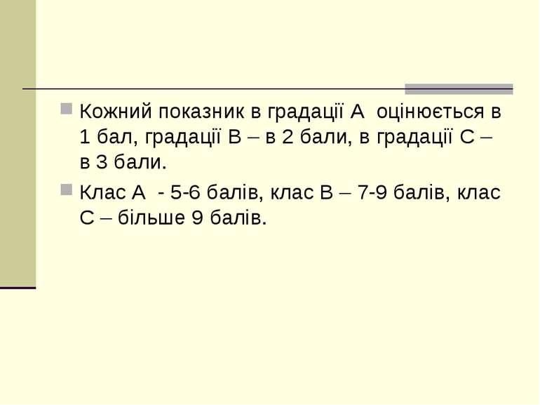 Кожний показник в градації А оцінюється в 1 бал, градації В – в 2 бали, в гра...