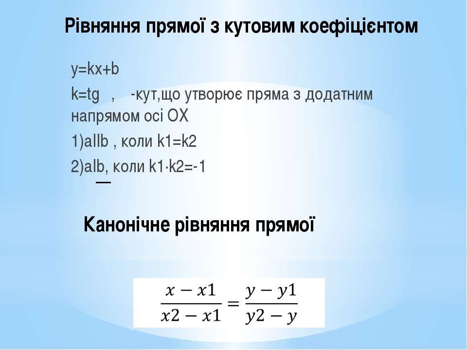 Рівняння прямої з кутовим коефіцієнтом y=kx+b k=tgα, α-кут,що утворює пряма з...