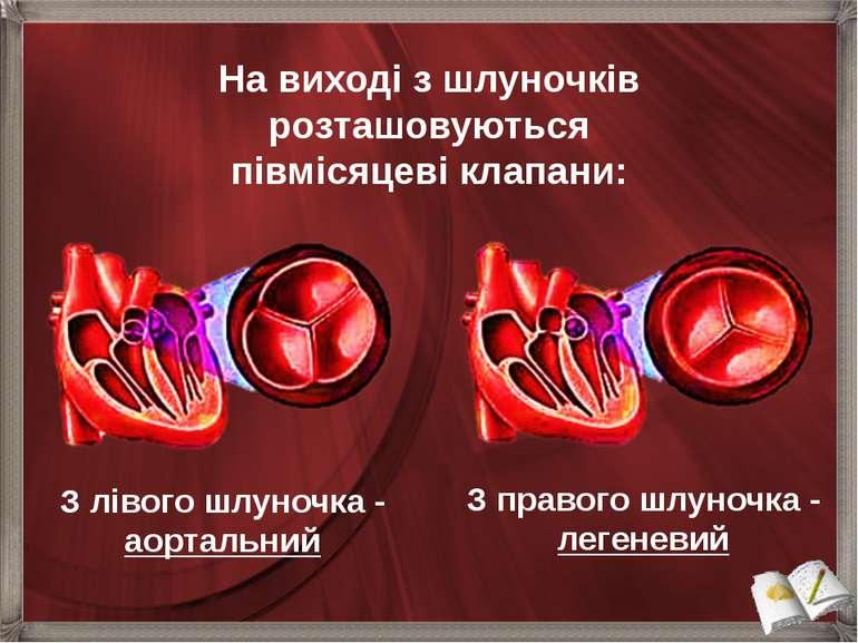 З лівого шлуночка - аортальний На виході з шлуночків розташовуються півмісяце...