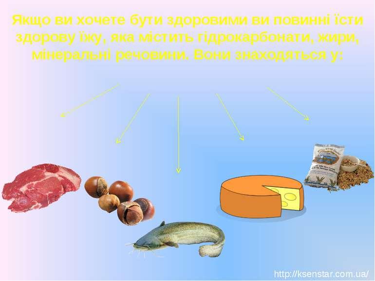 Якщо ви хочете бути здоровими ви повинні їсти здорову їжу, яка містить гідрок...