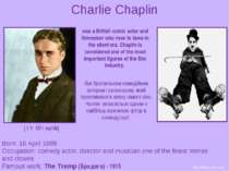 Charlie Chaplin Born: 16 April 1889 Occupation: comedy actor, director and mu...