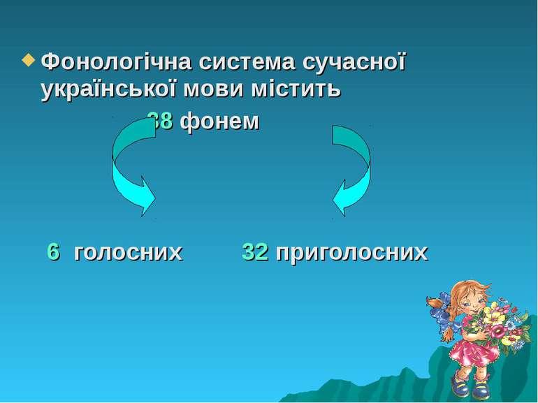 Фонологічна система сучасної української мови містить 38 фонем 6 голосних 32 ...