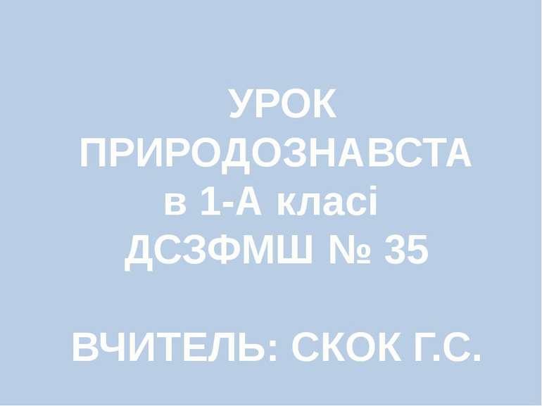 УРОК ПРИРОДОЗНАВСТА в 1-А класі ДСЗФМШ № 35 ВЧИТЕЛЬ: СКОК Г.С.