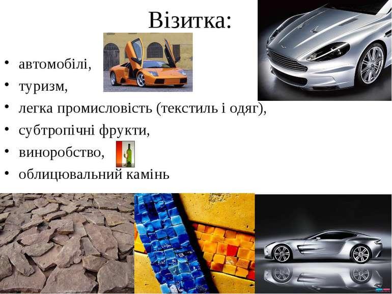 Візитка: автомобілі, туризм, легка промисловість (текстиль і одяг), субтропіч...