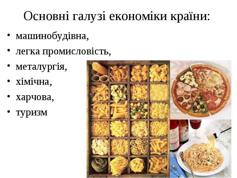 Основні галузі економіки країни: машинобудівна, легка промисловість, металург...
