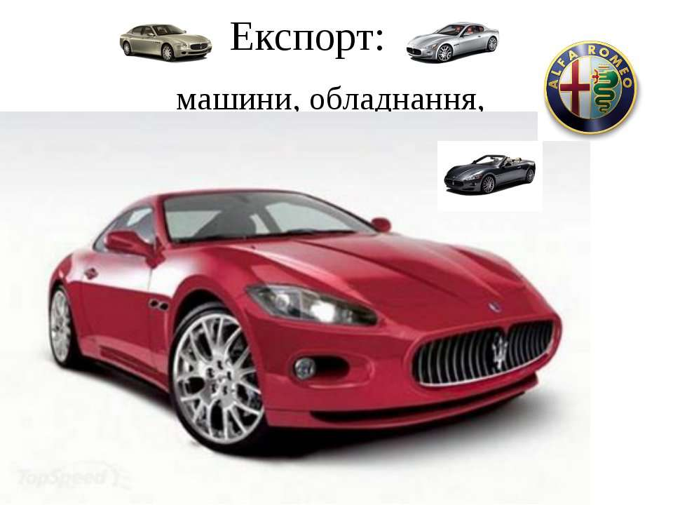 Експорт: машини, обладнання,