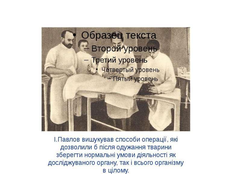 І.Павлов вишукував способи операції, які дозволили б після одужання тварини з...