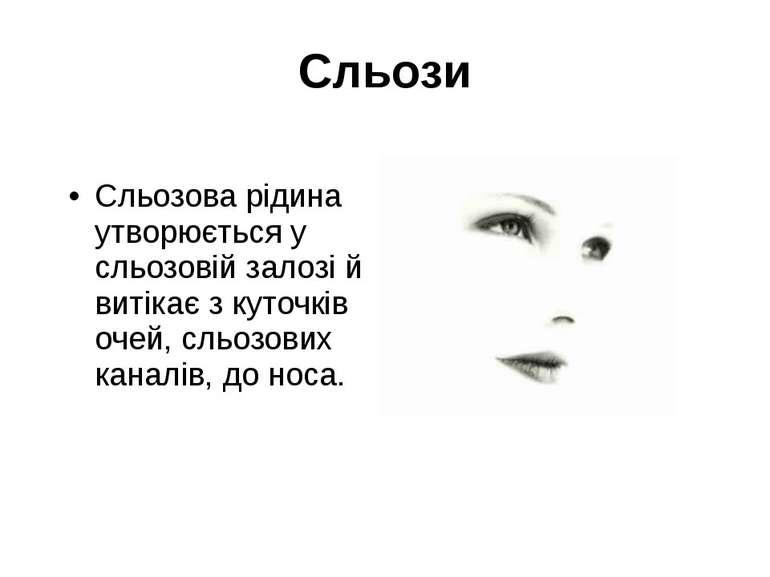 Сльози Сльозова рідина утворюється у сльозовій залозі й витікає з куточків оч...