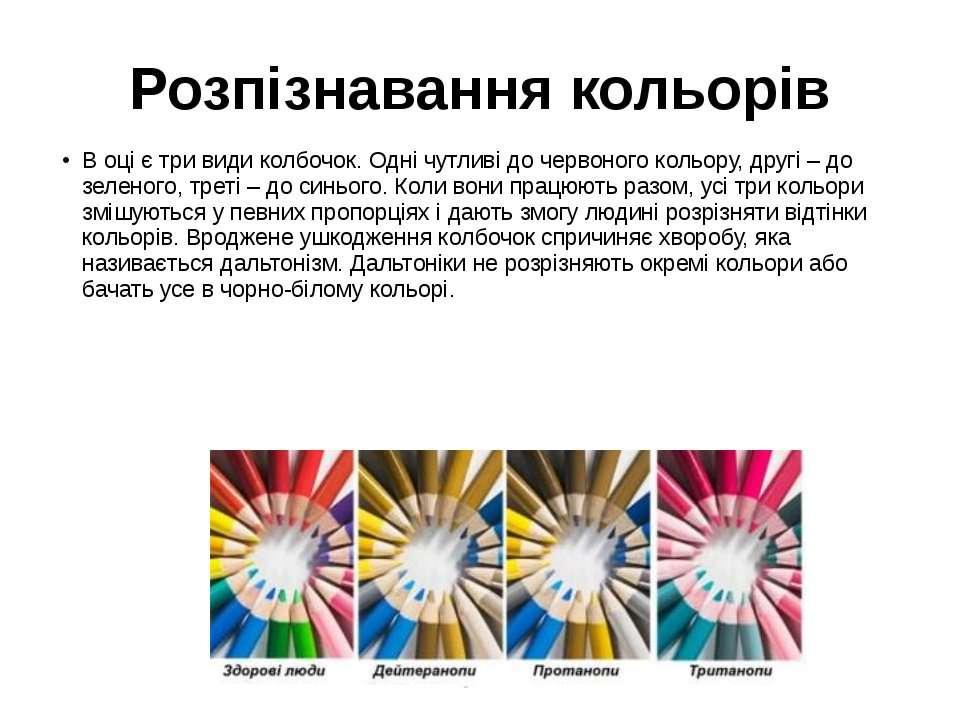 Розпізнавання кольорів В оці є три види колбочок. Одні чутливі до червоного к...