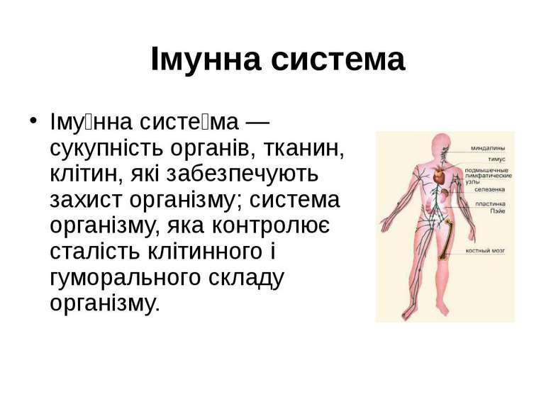 Імунна система Іму нна систе ма — сукупність органів, тканин, клітин, які заб...