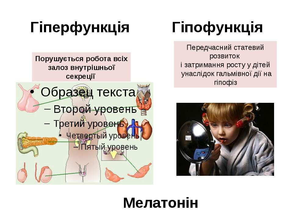 Гіперфункція Гіпофункція Порушується робота всіх залоз внутрішньої секреції П...