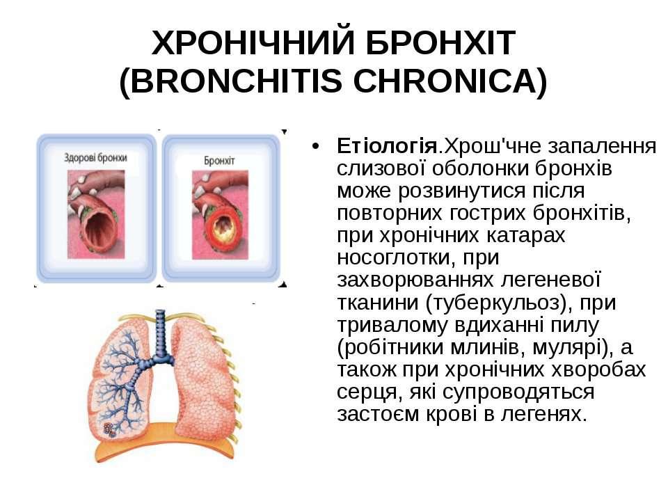 ХРОНІЧНИЙ БРОНХІТ (BRONCHITIS CHRONICA) Етіологія.Хрош'чне запалення слизової...