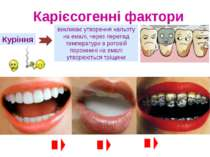 Куріння викликає утворення нальоту на емалі, через перепад температури в рото...