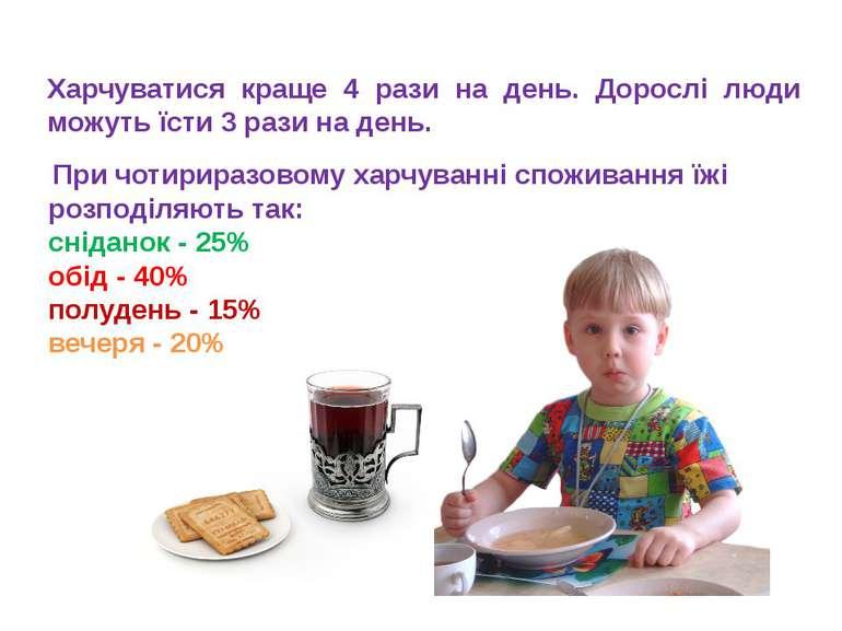 При чотириразовому харчуванні споживання їжі розподіляють так: сніданок - 25%...