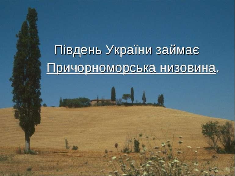 Південь України займає Причорноморська низовина.