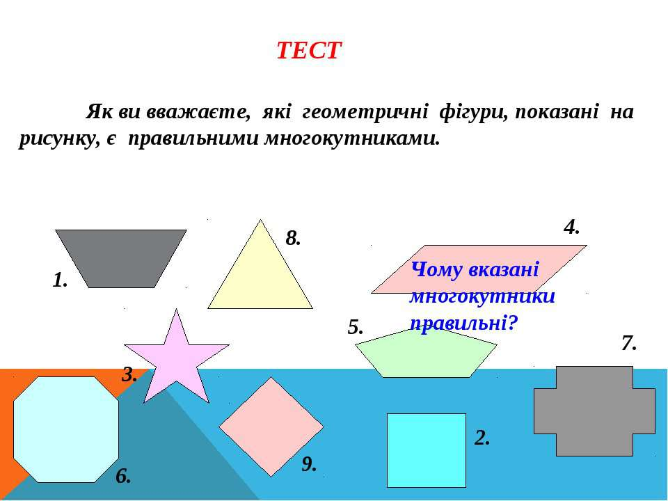 Як ви вважаєте, які геометричні фігури, показані на рисунку, є правильними мн...